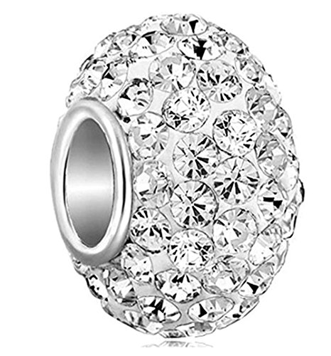 925 Sterling Silver April Birthstone Charm Bead Swarovski, used for sale  Delivered anywhere in USA
