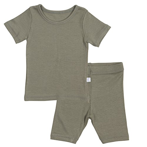 AVAUMA Newborn Baby Little Boys Snug-Fit Pajamas Summer Short Sets Pjs Kids Clothes (X-Large/4T - 5T, Khaki)