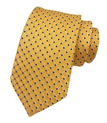 Mens Yellow Gold Geometry Gingham Woven Silk Ties Regular Soft Big Boys Neckties
