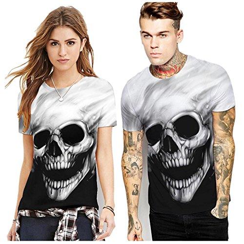 Oksale® Womens Men Plus Size Lovers Skull Printing Tees Shirt Short Sleeve T-Shirt Lover Blouse Top