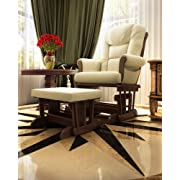 Naomi Home Deluxe Multi-Position Sleigh Glider and Ottoman Set, Sand/Espresso
