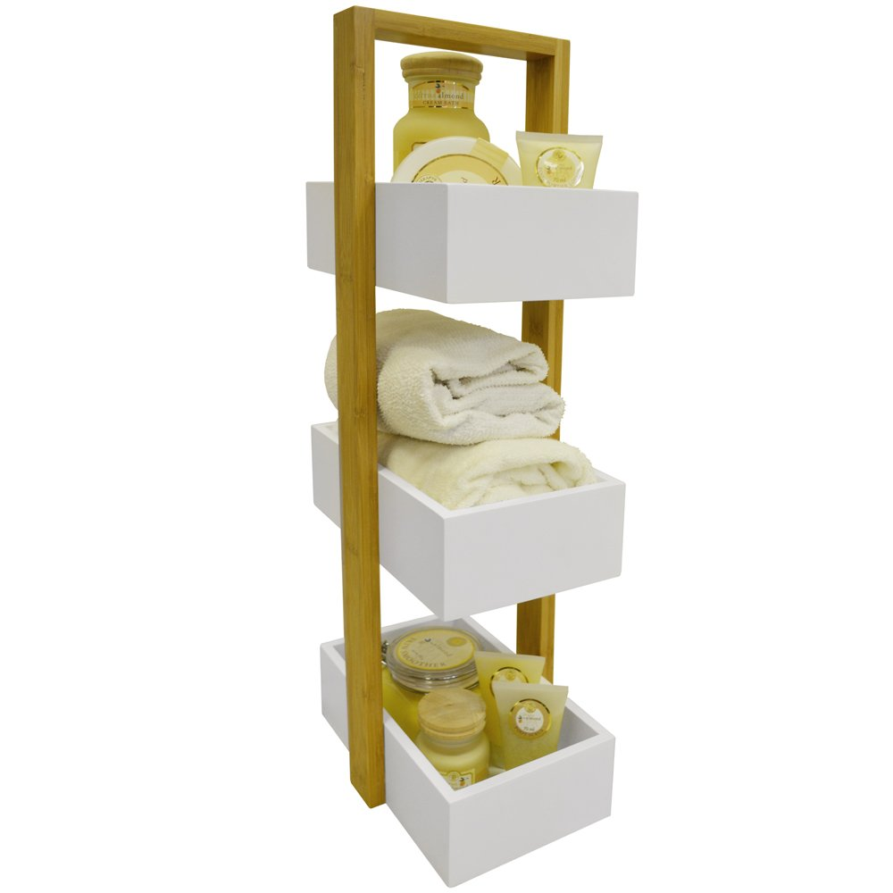 ECHE - 3 Tier Bathroom Storage Shelf / Caddy / Basket - White / Bamboo WATSONS