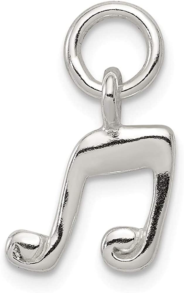 Solid 925 Sterling Silver Music Note Charm Pendant 12mm x 10mm
