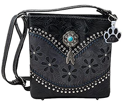 HW Collection Western Hanging Feather Tassels Tooling Flower Concealed Carry Crossbody Handbag Purse