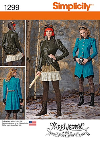 [SIMPLICITY 1299 MISSES' COSTUMES: COAT, JACKET, BUSTLE, RUFFLED SKIRT, (SIZE 14-22) SEWING PATTERN] (Halloween Costumes Size 20)