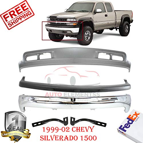 1500 Valance Replacement - Front Bumper Kit Cap Valance for 1999-2002 Chevrolet Chevy Silverado 1500 with Bumper Bracket Lh & Rh Side W/Fog Light and Tow Hook Holes Set of 5 GM1002376 GM1051103 GM1066129 GM1067129 GM1092167