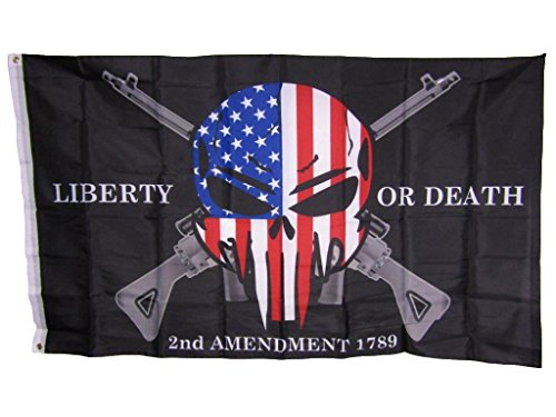 ALBATROS 3 ft x 5 ft Liberty or Death 2nd Amendment USA Demon Skull Rifles 1789 Flag for Home and Parades, Official Party, All Weather Indoors Outdoors