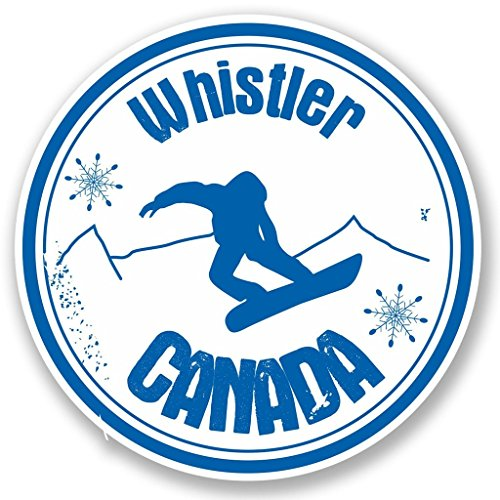 - 2 x 10cm/100mm Whistler Canada Snowboard Vinyl SELF ADHESIVE STICKER Decal Laptop Travel Luggage Car iPad Sign Fun #4711