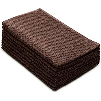COTTON CRAFT - 8 Pack - Euro Cafe Waffle Weave Terry Kitchen Towels - 16x28 Inches - Chocolate - 400 GSM Quality - 100% Ringspun 2 Ply Cotton - Highly Absorbent Low Lint - Multi Purpose
