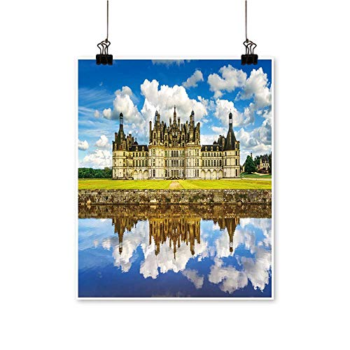 - Art-Canvas Prints Chateau de Chambord, Royal Medieval French Castle Reflection Wall Art for Living Room Decoration,24