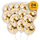 24 Pieces Gold Confetti Balloons | PREFILLED 12 Inch Latex Party Balloons with Gold Confetti for Party Decorations, Wedding & Bridal, Proposal (Gold): more info