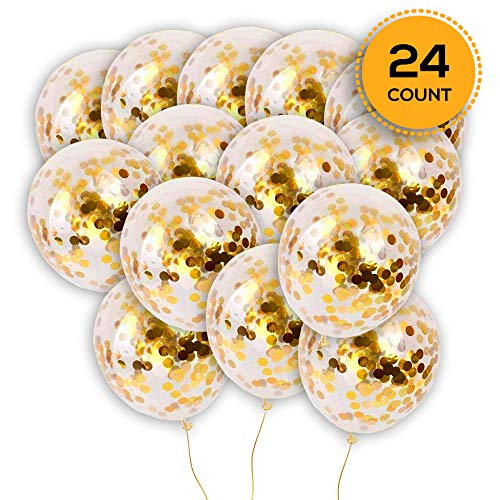Confetti Latex - 24 Pieces Gold Confetti Balloons | PREFILLED 12 Inch Latex Party Balloons with Gold Confetti for Party Decorations, Wedding & Bridal, Proposal (Gold)