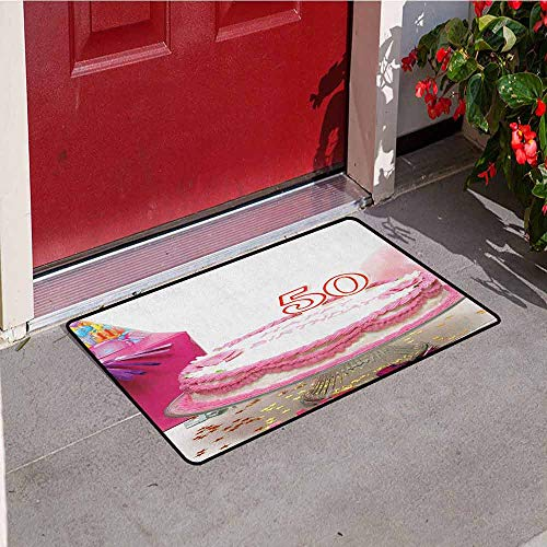 Gloria Johnson 50th Birthday Universal Door mat Delicious Cake with Golden Color Stars and Party Hat Presents Special Day Door mat Floor Decoration W31.5 x L47.2 Inch Multicolor