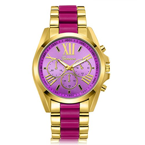 Geneva Stainless Steel Bracelets (Wrisky Women Geneva Stainless Steel Roman Numerals Analog Quartz Bracelet Wrist Watch (Purple))