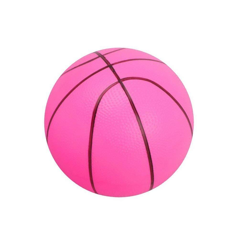Ogquaton Balle en Mousse Souple Mini Basketball Enfant É ducation pré coce Balle Ronde PVC Jouet pour Enfants Ou Dé butant Jouer Rose