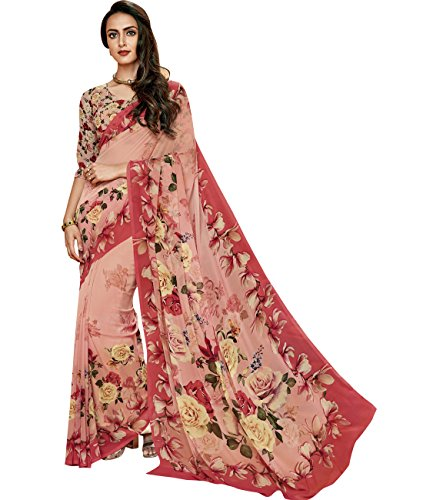 Indian Ethnicwear Bollywood Pakistani Faux Georgette Light Peach Coloured Printed Saree by Maahir Garments