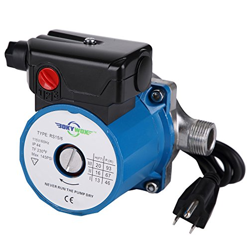 BOKYWOX Hot Water Circulation Pump 3/4'',3-Speed Circulating Pump (RS15-6SB)