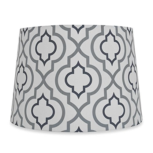 (Lamp Shade, 13-Inch Two-Tone Screen Printed in Silver/White)