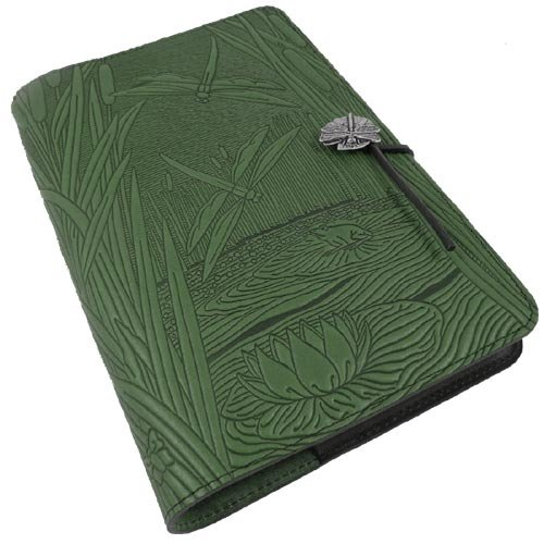 Modern Artisans Dragonfly Pond American-Made Embossed Leather Writing Journal Cover in Green, 6 x 9-inch + Refillable Hardbound Insert Book (Green Dragon Leather)
