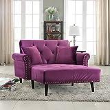Modern Velvet Fabric Recliner Sleeper Chaise Lounge, Futon Sleeper Chair