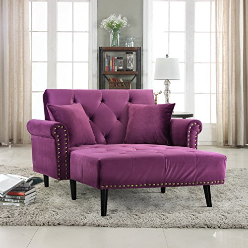 (Divano Roma Furniture Modern Velvet Fabric Recliner Sleeper Chaise Lounge - Futon Sleeper Single Seater with Nailhead Trim (Purple))