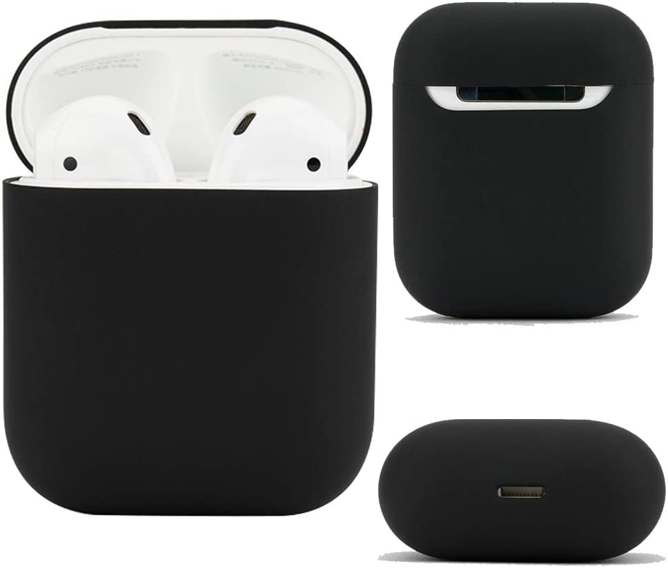 Airpods Case [Wirelss Charging Compatible] Protective Silicone Cover and Skin for Apple Airpods Charging Case (Black)