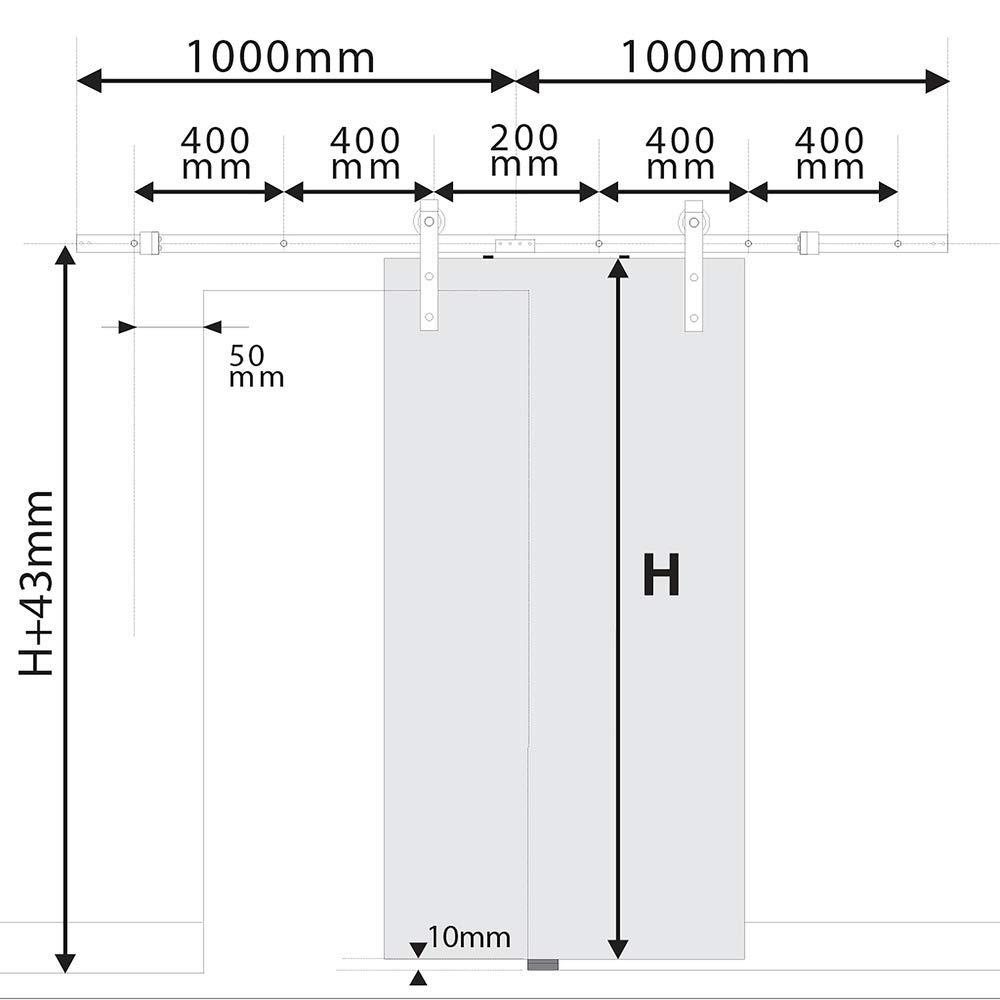 Rail gu/ía para Puerta corredera de Color Acero Mate de 2m PrimeMatik