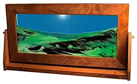 Exotic Sands Xl12 Moving Sand Pictures X Large Alder Summer Turquoise Quality Alder Wood Frame Voted Top 10 Gifts Sand Timer Lava Lamp