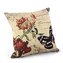 """Createforlife Home Decor Cotton Linen Square Throw Pillowcase Cushion Cover Pillow Shams Vintage Butterfly Red Flower 18"""" x 18"""""""