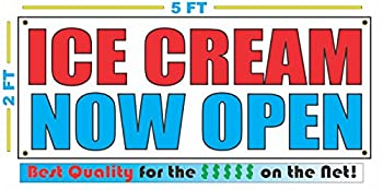 ICE CREAM NOW OPEN Banner sign