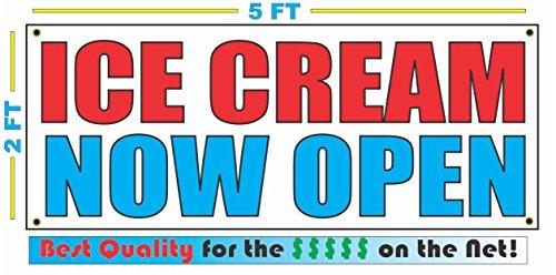 Open Ice Cream - ICE CREAM NOW OPEN Banner sign