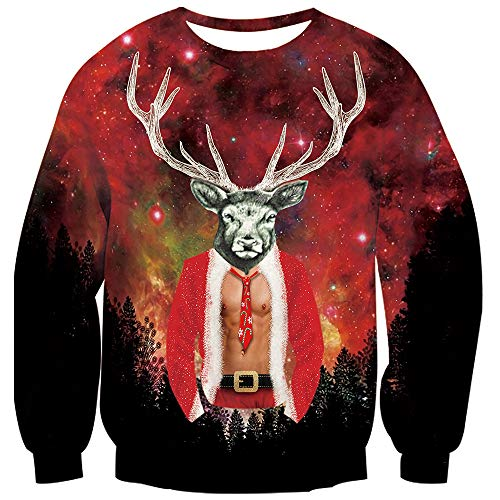 TUONROAD Cute Holiday Men's Sweaters Maroon Red Galaxy Space Universe Black Forest Reindeer Santa Men Suit Ugly Christmas Sweatshirt His and Her Unique Top Pullover Jumpers for Men Guys -