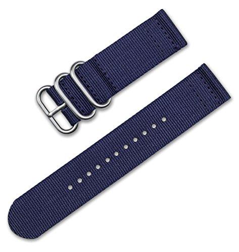 deBeer 18mm Military Ballistic Nylon 2-Piece Watch Band/Watch Strap - Navy Blue