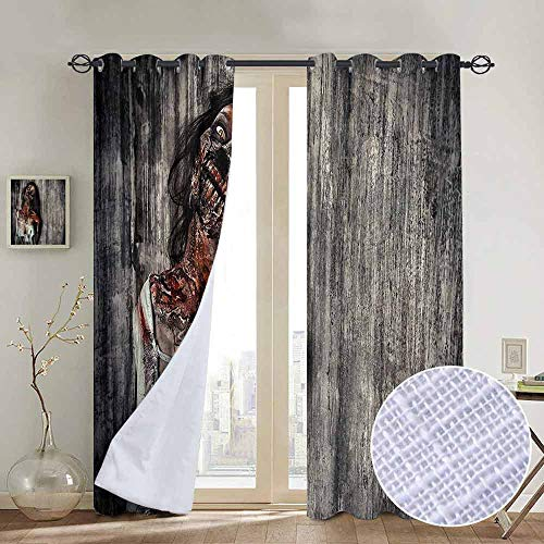 NUOMANAN Blackout Curtains Zombie Decor,Angry Dead Woman Sacrifice Fantasy Mystic Night Halloween Image,Dark Taupe Peach Red,Thermal Insulated Panels Home Décor Window Draperies for Bedroom a54 x63]()