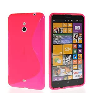 LIKESEA Hot Pink for Nokia Lumia 1320 Beautiful Lines Texture Soft Gel Silicone Back Case Cover Rose