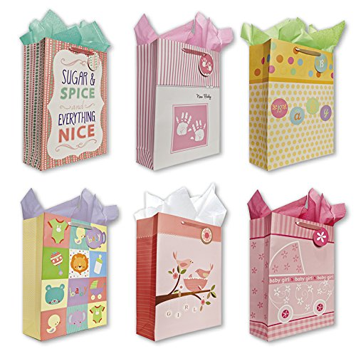 Baby Shower Party Gift Bags Set of 6 Jumbo Birthday Gift Bags w/ Lion, Flowers, Baby Caridges, Baby Hand Prints, Ducks, Tags and Tissue Paper for Baby Girls
