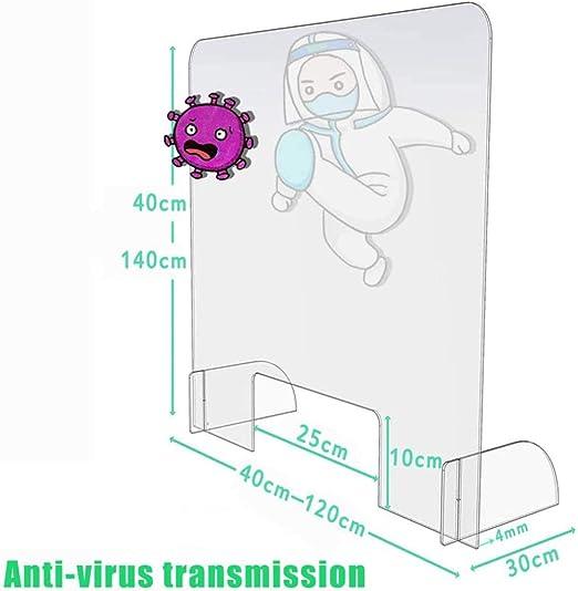 HSBAIS Mampara De ProteccióN, Plexiglás con ventanilla Pantalla de protección Mampara para farmacias para Entre los Empleados y los Clientes,Transparent_50x70cm: Amazon.es: Hogar