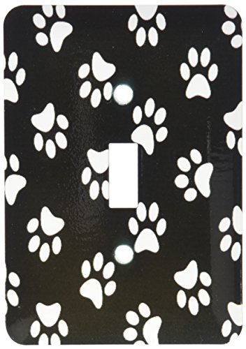 3dRose lsp_161522_1 Black & White Paw Print Pattern Cute Cartoon Animal Egg Dog or Cat Footprints Single Toggle Switch by 3dRose
