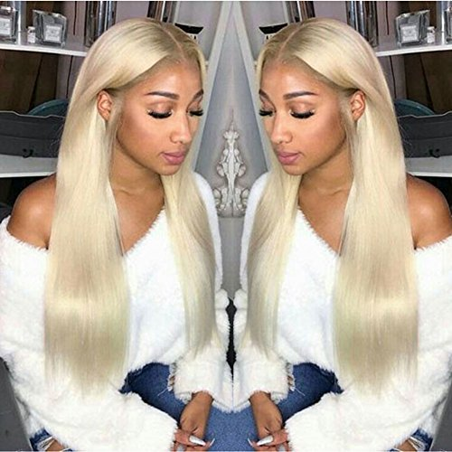 Yviann Ombre Blonde Lace Front Wigs Half Hand Tied Long Straight Wigs for Women High Density 2 Tone Color Synthetic Wigs