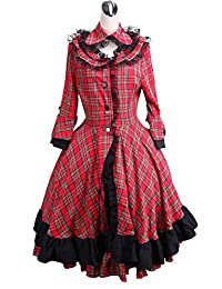 antaina Red Plaid Cotton Black Lace Classic Victorian Lolita Cosplay Coat Dress