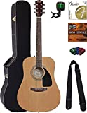Fender Acoustic Guitar Bundle with Hard Case, Tuner, Strings, Strap, Picks, Austin Bazaar Instructional DVD, and Polishing Cloth