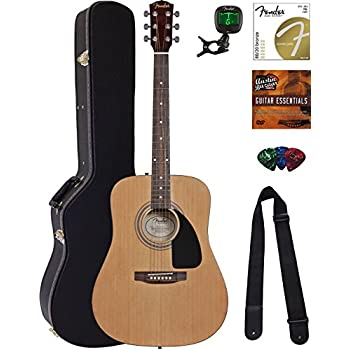 Fender Acoustic Guitar Bundle with Hard Case, Stand, Tuner, Strings, Strap, Picks, Austin Bazaar Instructional DVD, and Polishing Cloth