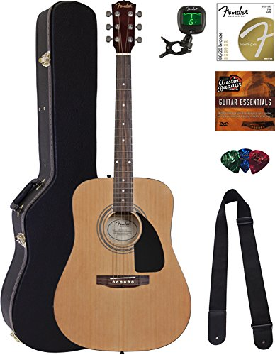 Fender Acoustic Guitar Bundle with Hard Case, Stand, Tuner, Strings, Strap, Picks, Austin Bazaar Instructional DVD, and Polishing Cloth - Image 9