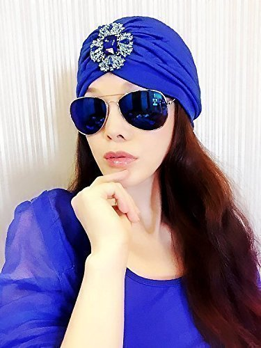 Best Choice And Best DiscountsBlue Gemstone Jewelry Turban,Women Turban