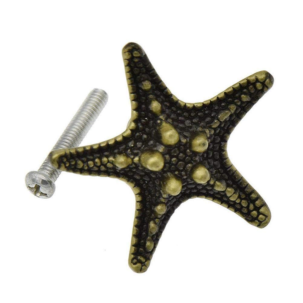 zhuyu Pentagrama 6 pomos de Bronce para Armario dise/ño de Estrella de mar