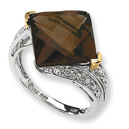 Argent 925/1000 et Quartz grain whisky 14 carats et diamant - 2 x 11 mm-N Taille 1/2
