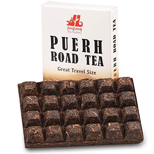 Chinese Tea Puerh - Pu erh Tea Brick of 24 Portions (48 cups) - Yunnan Shu Puer - Post-Fermented Black Loose Leaf Tea - Natural Ripe Puerh Detox tea with Antioxidants for Weight Loss 100g/3.6 ounces