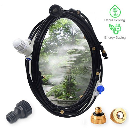 DMCSHOP Outdoor Mist Cooling System Kit - Misting System for Greenhouse Garden Patio Fan Gazebo Irrigation Mister Line -10 Brass Nozzles 32.8FT (10M), Water Filters Shut Off Valve