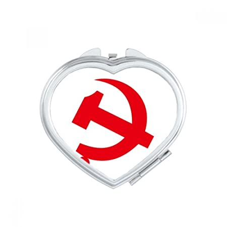 Diythinker Chinese Communist Badge Red Symbol Heart Compact Makeup