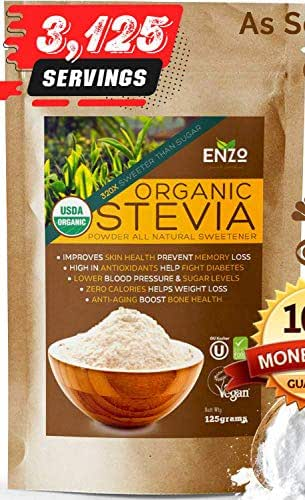 Organic Stevia Powder 125g (4.4oz / 3125 Servings) Premium USDA Certified All Natural Alternative Sweetener 320x Sugar Free Non-GMO 0 Calories Vegan No Aftertaste Kosher (2)